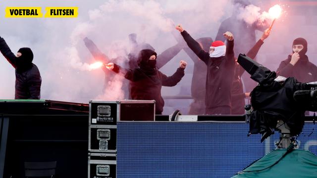 supporters breken stadion in en steken vuurwerk af bij feyenoord-rkc