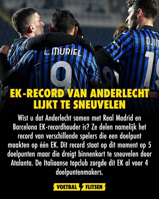 Euro2020 atalanta anderlecht record EK