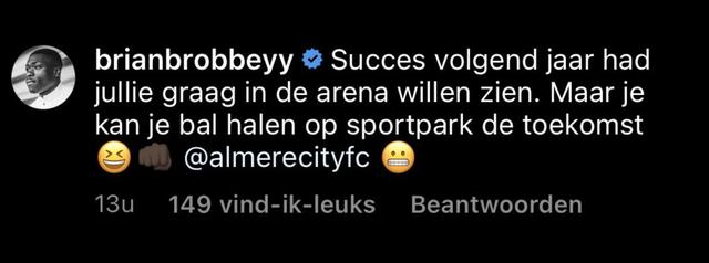 brian brobbey lacht almere city uit op instagram