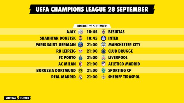 speelschema champions league