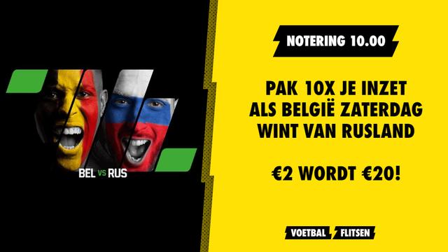 belgië wint van rusland odd 10.00 unibet