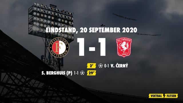 20 september 2020: Feyenoord-FC Twente 1-1, eredivisie speelronde 2