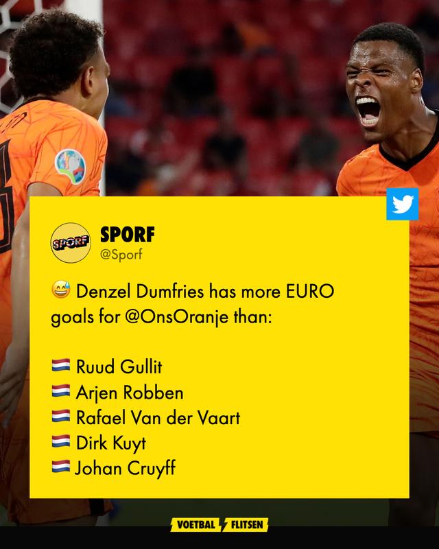Dumfries scoorde meer EK-goals dan Gullit, Robben, Cruijff, Kuyt en Van der Vaart