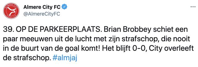almere city maakt brian brobbey belachelijk met gemiste strafschop