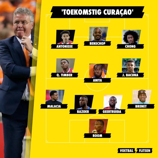 curaçao elftal met alle nederlanders hiddink en kluivert bondscoach