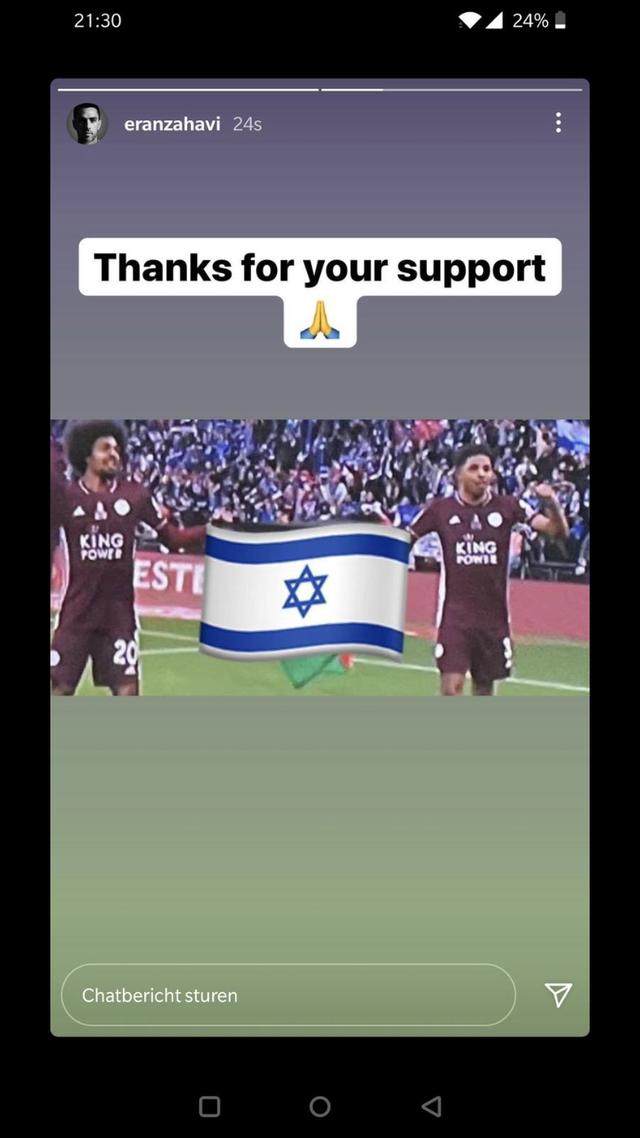 Zahavi Israel Palestina toont vlag