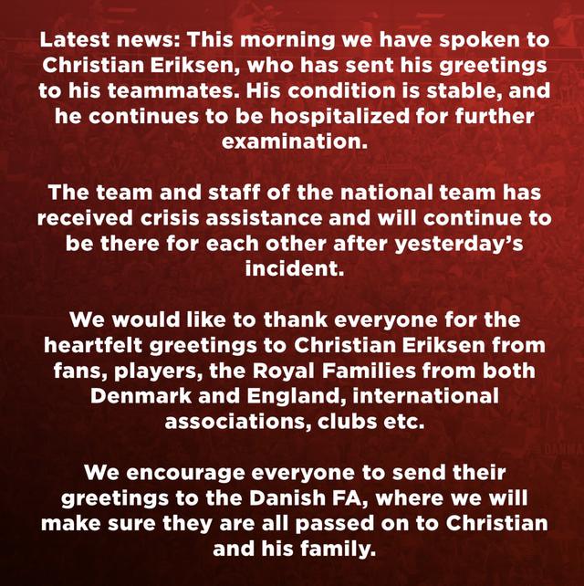 verklaring deense voetbalbond over situatie christian eriksen