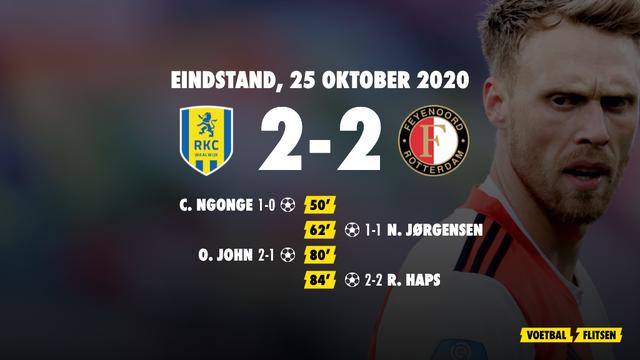 25 oktober 2020: RKC Waalwijk-Feyenoord 2-2, eredivisie speelronde 6