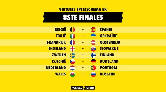 nederland in achtste finales ek tegen portugal virtueel schema