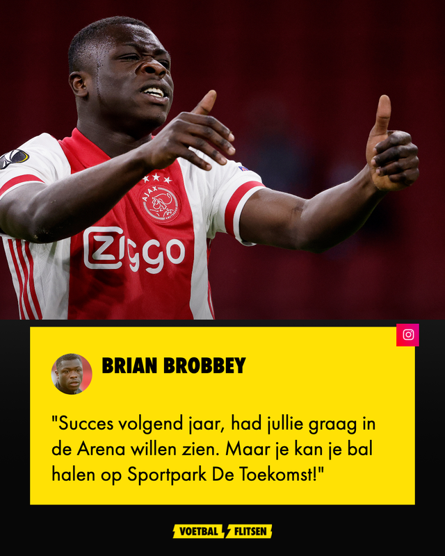 brian brobbey lacht almere city uit na penalty misser