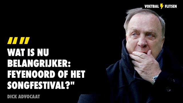 Wat is nu belangrijker: Feyenoord of het Songfestival dick advocaat spreekt