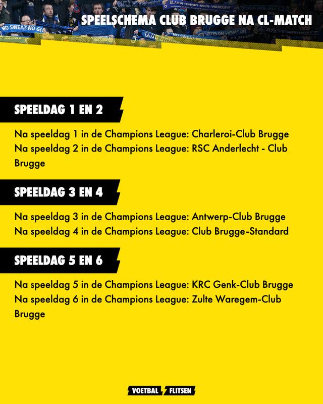 Programma Club Brugge na match in de Champions League