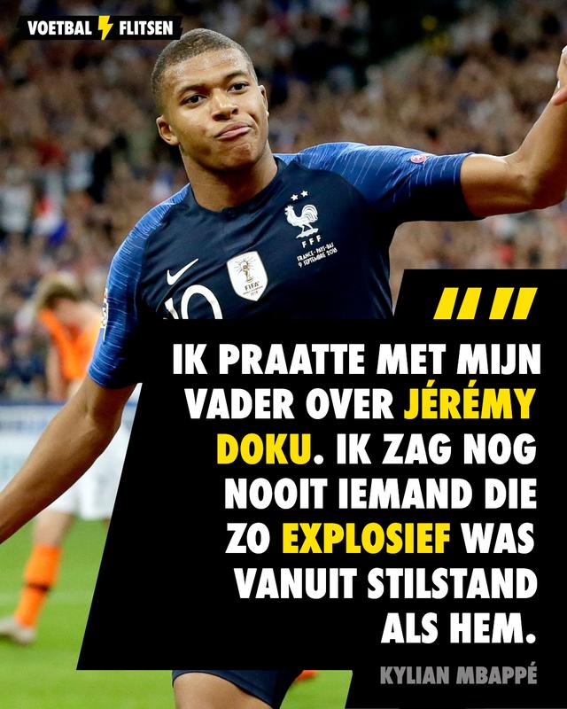 Mbappé lovend over Jérémy Doku