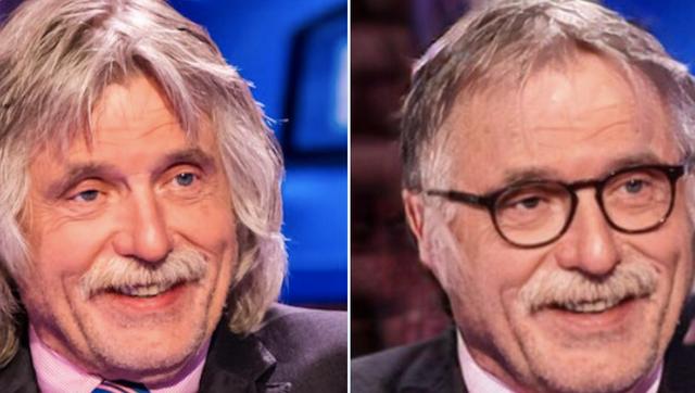 de nieuwe look van johan derksen met bril en zonder snor